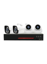 UK Plus 5MP 2056P DIY 4CH Home & Office Security Surveillance Camera, with DVR Full HD 2 Dome Camera Kit, Black