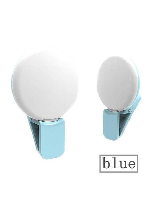 UK Plus Portable Mini Rechargeable Selfie Ring Light for Smartphones, Blue