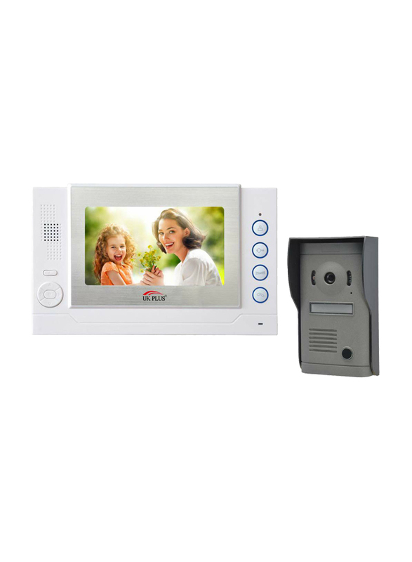 UK Plus Access Smart Video Doorbell, Home & Office Smart Intercom HD Camera with HD 8 inch Screen with Two-Way Talk & Video, White/Grey