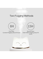 UK Plus Aroma Humidifier, 300ml, with USB Charge Eye Friendly Night Light, Cat, White
