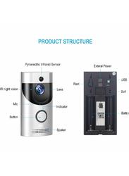 UK Plus Access Wireless Smart Video Doorbell Home & Office Smart Intercom HD WiFi Camera with Two-Way Talk & Video, Grey