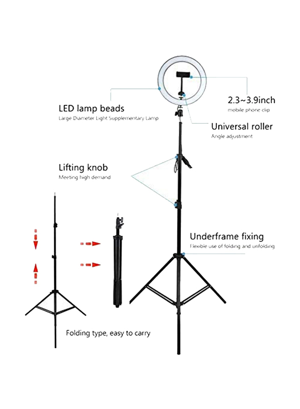 UK Plus 10 inch Selfie Ring Light with Tripod Stand for Smartphones, 160cm, Black