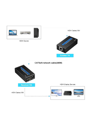 UK Plus HDMI Extender Over Single Cat 5E/6/6a 60M Support Full HD 1080P 3D HDCP EDID Ethernet LAN Cable Switch Network RJ45 to HDMI Extension Adapter Transmitter Receiver, US Plug, Black