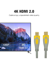 UK Plus 20-Meter 4K HDMI Cable, HDMI Male to HDMI for UHD TV/Blu-Ray/Xbox/PS4/PS3/PC, Grey/Yellow
