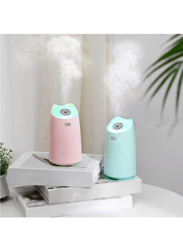 UK Plus Mini Humidifier, Aroma Diffuser, 280ml, with USB Charge and Eye Friendly Multi-Light Night, Green