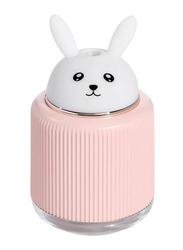 UK Plus Aroma Humidifier, 300ml, with USB Charge Eye Friendly Night Light, Rabbit, Peach/White
