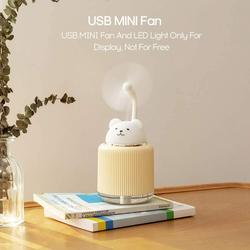 UK Plus Aroma Humidifier, 300ml, with USB Charge Eye Friendly Night Light, Bear, Beige/White