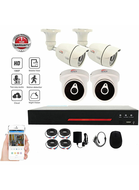 UK Plus DIY 1080p Full HD 4CH Home & Office Security Surveillance CCTV AHD Kit, with 2 Dome Indoor and 2 Bullet Outdoor Camera, 2 MP, White
