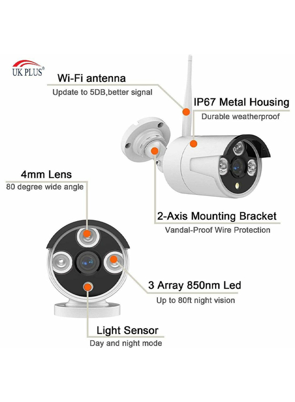 UK Plus DIY 1080P 4CH Wireless Home & Office Security Surveillance Camera Set, with NVR Full HD 4 Bullet Camera, White