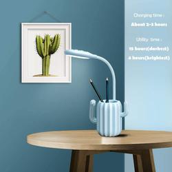 UK Plus Cactus USB Rechargeable LED Reading Light with Stationery Holder, Blue