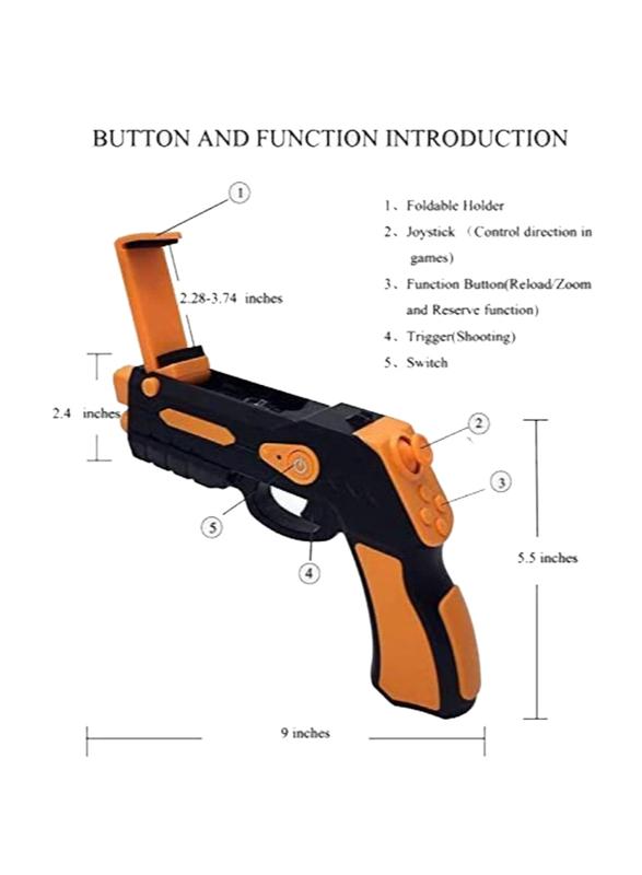Kidkit AR FunGun Endless Shooting Games with Mobile App and Gun Toy, Black/Orange