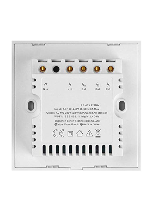 Sonoff Wi-Fi Home Automation Wireless Smart Wall Light with Standard 2 Gang Switch, White