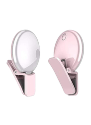 UK Plus Portable Mini Rechargeable Selfie Ring Light for Smartphones, Pink
