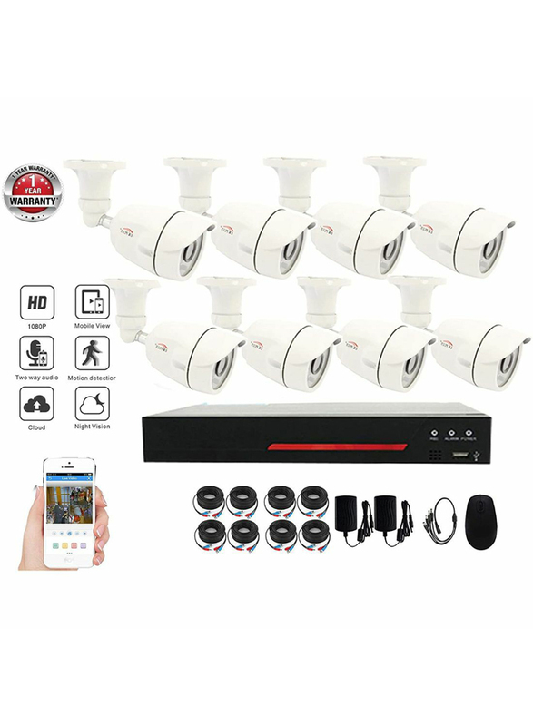 UK Plus DIY 1080P 8CH Home & Office Surveillance Security CCTV AHD Camera Kit, with 8 Bullet for Outdoor, 2MP, White