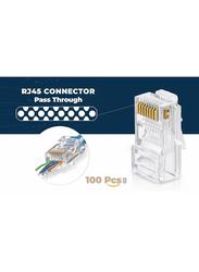 UK Plus RJ45 Cat-6 Pass Through Connectors EZ Crimp Connector UTP Network Plug for Unshielded Twisted Pair Solid Wire & Standard Cables Transparent Passthrough Ethernet Insert, 100 Pieces, Clear