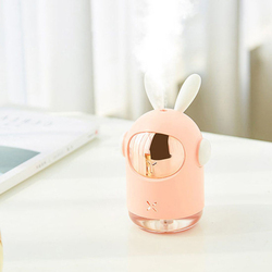 UK Plus Mini Bunny Shape Humidifier, 350ml, with USB Charge and Eye Friendly Multi-Light Night, Pink