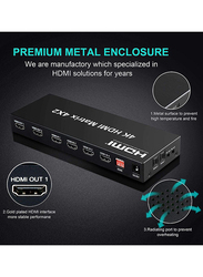 UK Plus 4x2 HDMI Matrix Switch, 4-in-2 Out Matrix HDMI Video Switcher Splitter with Optical and L/R Audio Output Support, Black