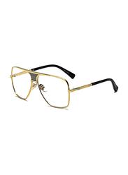 Pokoio Full Rim Aviator Gold Sunglasses Unisex, Clear Lens