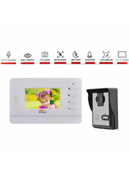 UK Plus Access Smart Video Doorbell, Home & Office Smart Intercom HD Camera with HD 4.3 inch Screen with Two-Way Talk & Video, Black/White