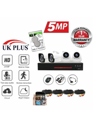 UK Plus 5MP 2056P DIY 4CH Home & Office Security Surveillance Camera, with 2TB Hard Drive DVR Full HD 2 Dome Camera Kit, Black