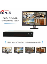 UK Plus DIY 1080P 8CH Home & Office Surveillance Security CCTV AHD Camera Kit, with 4 Bullet for Outdoor and 4 Dome for Indoor, 2MP, White