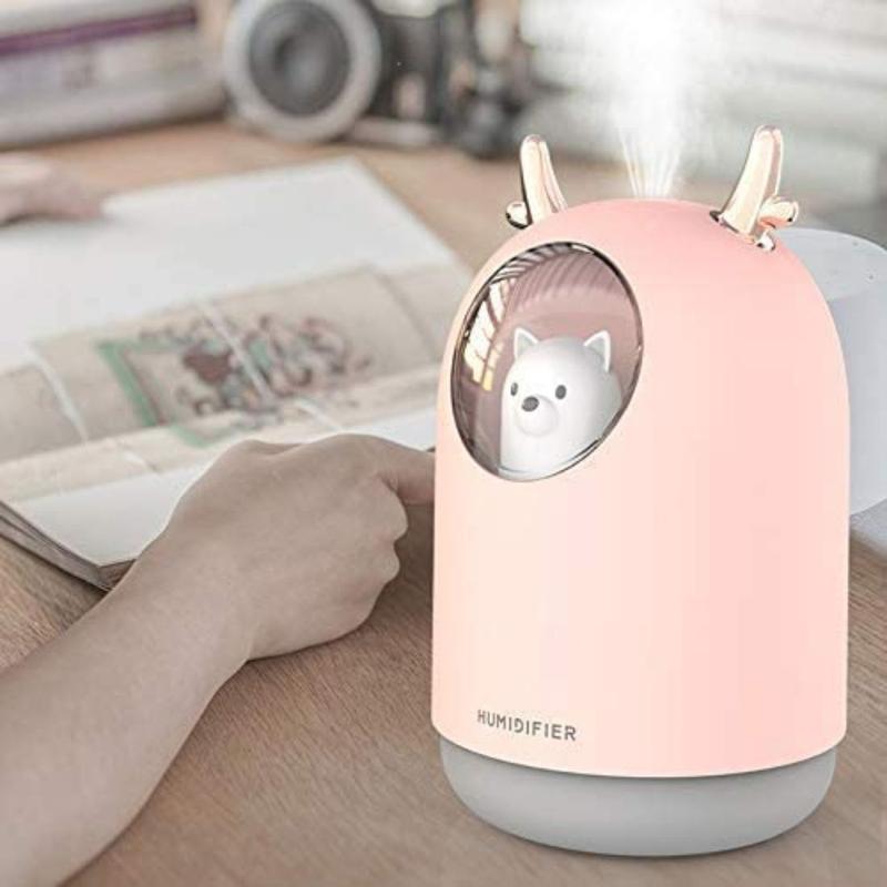 UK Plus USB Aroma Mini Portable Humidifier, 300ml, with 7 Color LED Night Light, Pink