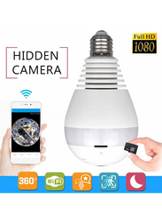 UK Plus WiFi/Wireless Full HD 1080P Fisheye with LED Light Home & Office Security Camera Surveillance, 2MP, White