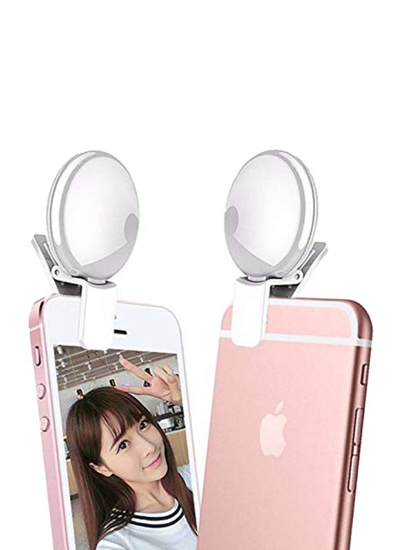 UK Plus Portable Mini Rechargeable Selfie Ring Light for Smartphones, Black