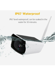 UK Plus Outdoor Full HD 1080P Wireless WiFi IP Home & Office Solar Security Surveillance Camera, White/Beige