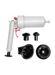 UK Plus Dredge Plug Air Power Pump Bathroom Drain Cleaner Plunger, Grey