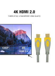 UK Plus 10-Meter 4K HDMI Cable, HDMI Male to HDMI for UHD TV/Blu-Ray/Xbox/PS4/PS3/PC, Grey/Yellow