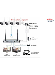 UK Plus DIY 1080P 8CH Wireless Home & Office Security Surveillance Camera Set, with NVR Full HD 8 Bullet Camera, White