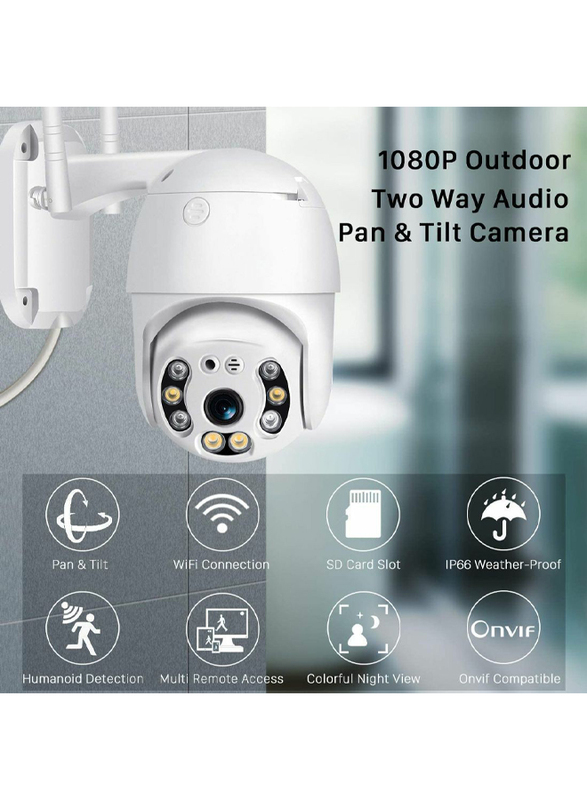 UK Plus Outdoor Full HD 1080P CCTV PTZ 2.4G WiFi/Wireless Home & Office Security Camera Surveillance, White