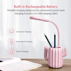 UK Plus Cactus USB Rechargeable LED Reading Light with Stationery Holder, Pink