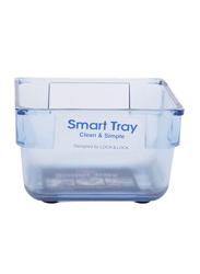 Lock & Lock Small Plastic Square Smart Tray, 8 x 8 x 5cm, Clear Blue