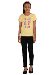 Genius Short Sleeve Text Printed T-Shirt for Girls, 4-5 Years, Butter Lemon