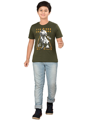 Genius Short Sleeve Graphic Printed T-Shirt for Boys, 9-10 Years, Olive