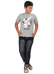 Genius Short Sleeve Gravity Graphic Printed T-Shirt for Boys, 9-10 Years, Grey