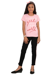 Genius Short Sleeve Text Printed T-Shirt for Girls, 5-6 Years, Baby Pink