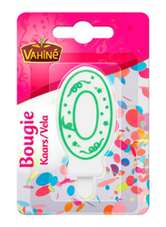 Vahine Number 0 Birthday Candles, 30g, White/Green