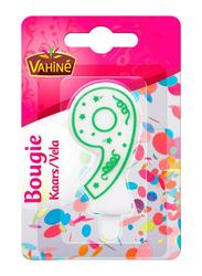 Vahine Number 9 Birthday Candles, 30g, White/Green