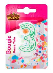 Vahine Number 3 Birthday Candles, 30g, White/Green