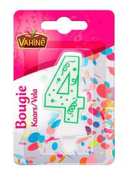 Vahine Number 4 Birthday Candles, 30g, White/Green
