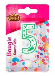 Vahine Number 5 Birthday Candles, 30g, White/Green