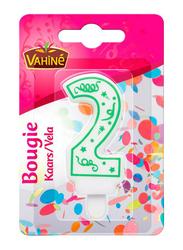 Vahine Number 2 Birthday Candles, 30g, White/Green