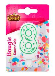Vahine Number 8 Birthday Candles, 30g, White/Green