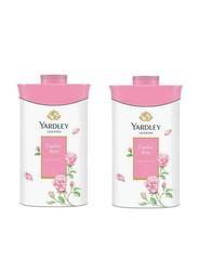 Yardley 2-Pieces London English Rose Perfume Talcum Powder,  250gm,  White