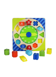 Acooltoy 13-Piece Wooden Shape Sorting Clock Puzzle