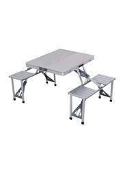 Generic Outdoor Portable Picnic Table, 4 Seats, Silver
