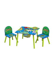 Delta Children 3-Piece Ninja Turtles Printed Table and Chair Set, Green/Blue